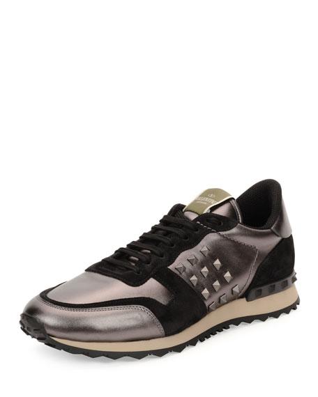 Valentino Rockrunner Metallic-Insert Leather Sneaker, Gunmetal