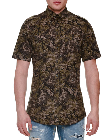 Dolce & Gabbana Pixel Camo-Print Short-Sleeve Woven Shirt,