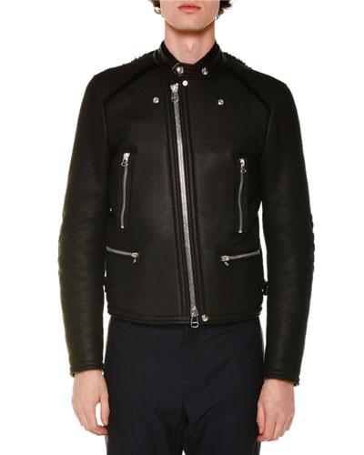 Asymmetrical-Zip Leather Jacket W/Fur Trim, Black