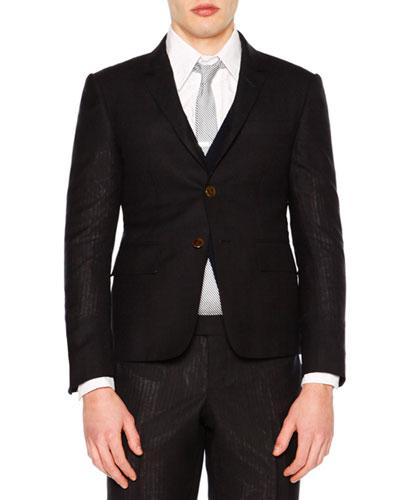 Faded-Stripe Two-Button Wool Sport Coat, Navy