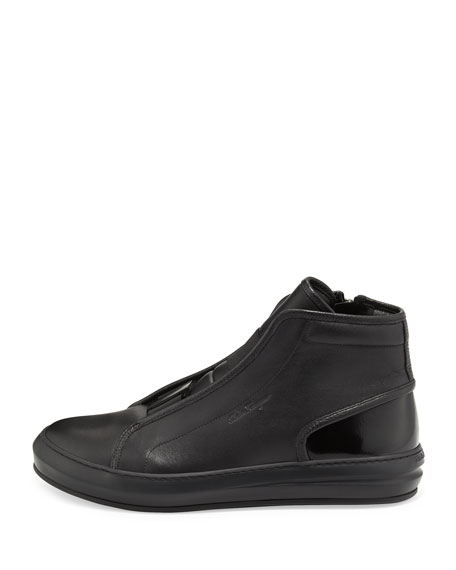 Salvatore Ferragamo Men's Ground Buckle-Front Calfskin High-Top Sneaker,  Black | Neiman Marcus