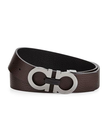 Salvatore Ferragamo Men's Double-Gancini Buckle Leather Belt, Black/Hickory