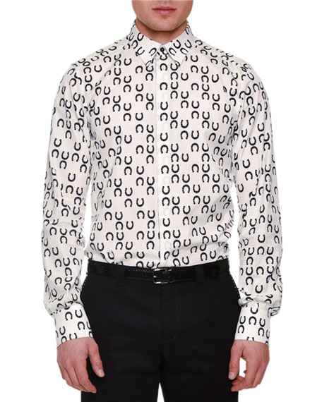 Dolce & Gabbana Allover Horseshoe-Print Sport Shirt, White/Black