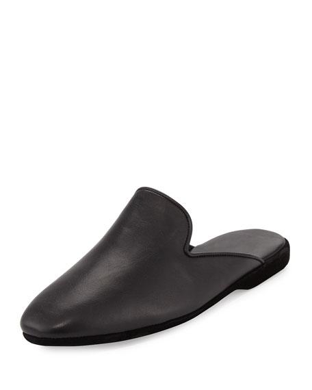 Calzaturificio Farfalla Leather Slipper, Black
