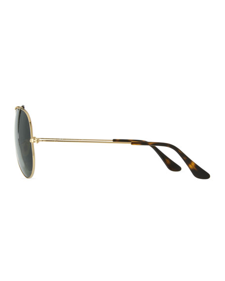 Havana Metal Aviator Sunglasses, Gold/Dark Green