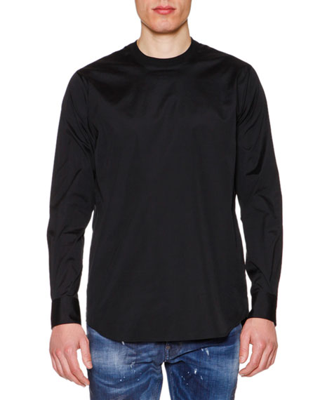 Long-Sleeve Poplin T-Shirt, Black