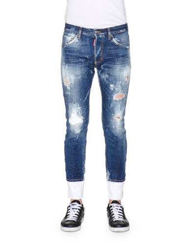 Bleach & Distressed Skinny-Leg Denim Jeans, Blue
