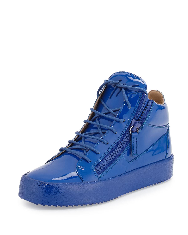 674f00c12af86 Giuseppe Zanotti Men's Patent Leather Mid-Top Sneaker, Blue   Neiman ...