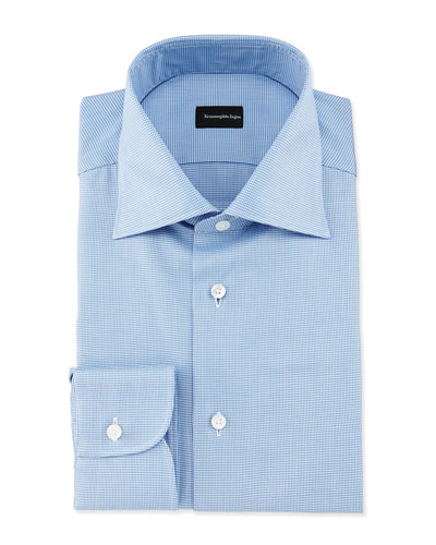 Micro-Gingham Woven Dress Shirt, Blue