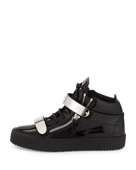 Men's Double-Strap Patent Leather Mid-Top Sneakers, Black