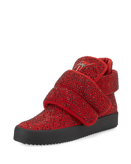 Giuseppe Zanotti Men's Crystal-Studded High-Top Sneaker, Red
