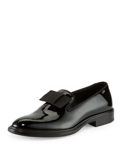K Line Patent Leather Bow Loafer, Black