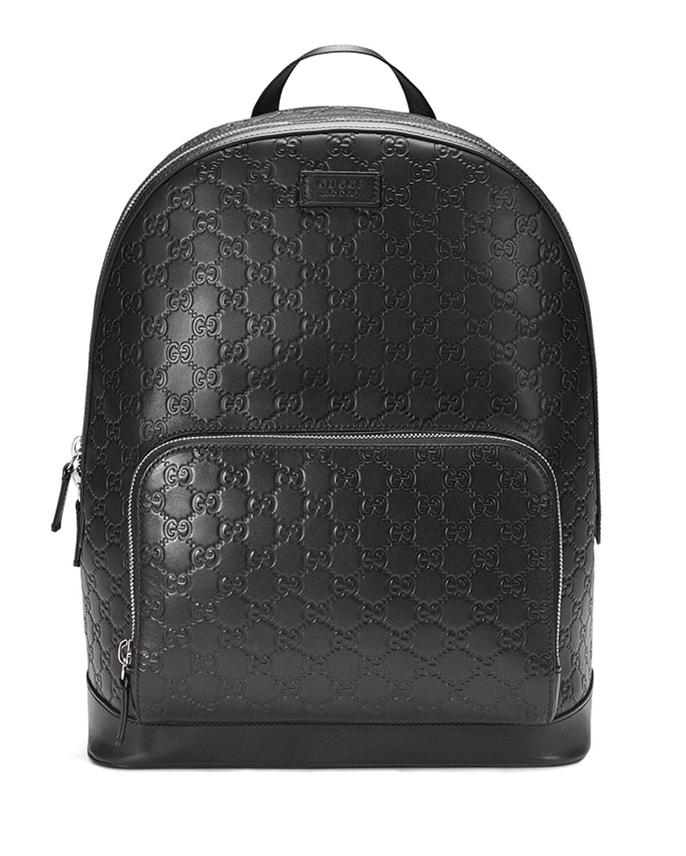f64c1b4e4092 Gucci Signature Leather Backpack, Black | Neiman Marcus