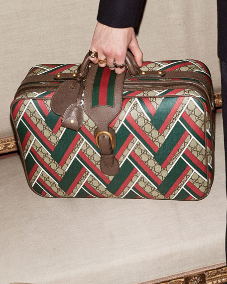 Neo Vintage GG Chevron Suitcase, Red/Green