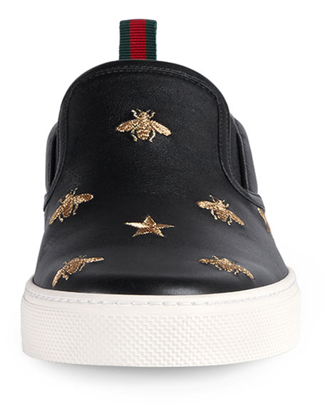 Men's Dublin Bee & Star Embroidered Leather Slip-On Sneakers