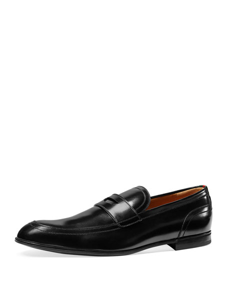 Gucci Ravello Leather Penny Loafer, Black