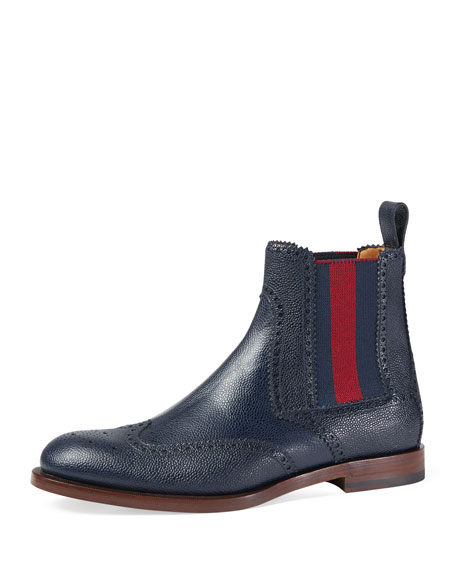 Gucci Strand Hammered Leather Chelsea Boot w/Web