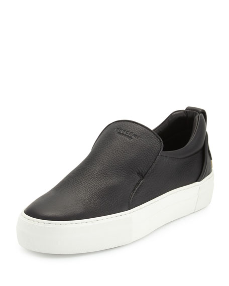 Buscemi 40mm Men's Leather Slip-On Sneakers, Black