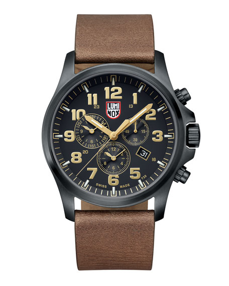 Atacama Chronograph 1940 Series Watch, Black/Tan