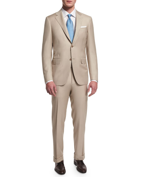 Canali Sienna Contemporary-Fit Solid Two-Piece Suit, Tan