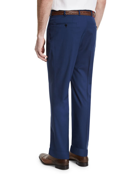 Gregory Flat-Front Wool-Blend Trousers