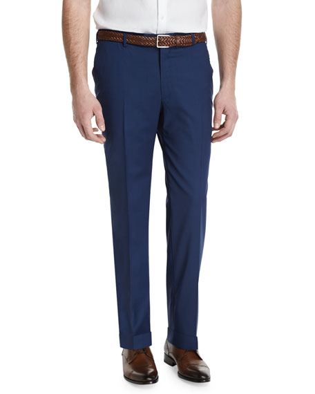 Isaia Gregory Flat-Front Wool-Blend Trousers