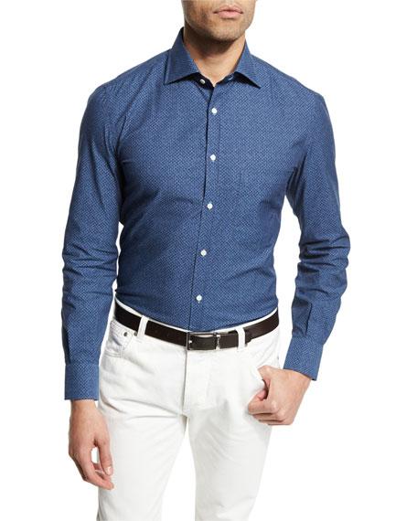 Isaia Denim-Effect Printed Long-Sleeve Sport Shirt, Denim