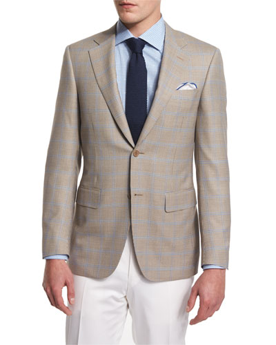 Houndstooth-Windowpane Two-Button Sport Coat, Tan