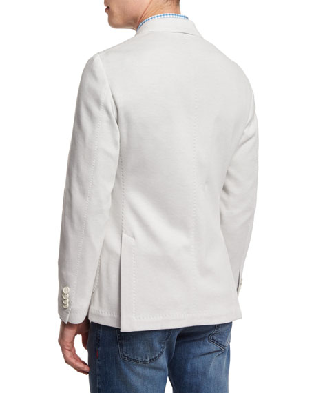 Solid Two-Button Jersey Jacket, White