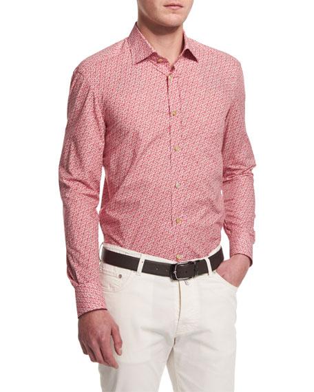Kiton Mini Floral-Print Sport Shirt, Red