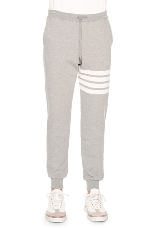 Thom Browne Men's Classic Drawstring Sweatpants with Stripe Detail