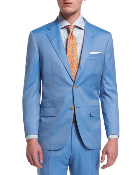 Kiton Two-Piece Herringbone 170s Wool Suit, Light Blue