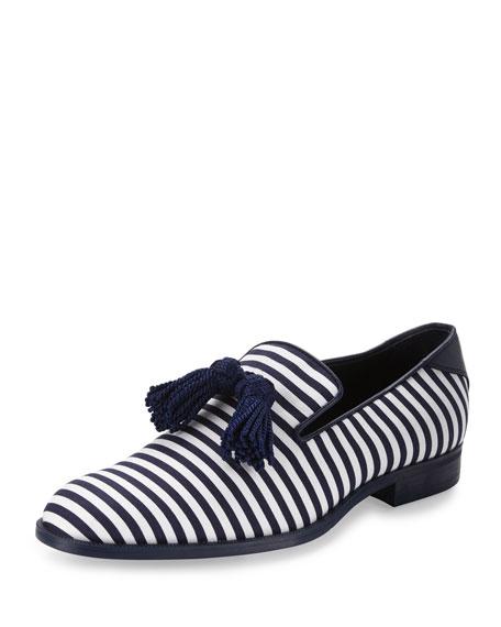Jimmy Choo Foxley Men's Striped Tassel Loafer, Blue/White