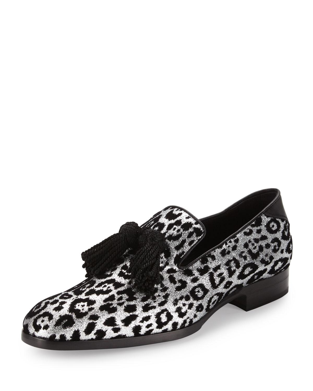 f78115848c7 Jimmy Choo Foxley Men s Glitter Leopard-Print Tassel Loafer