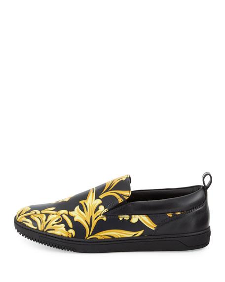 Barocco Men's Leather Skate Shoe, Black/Gold