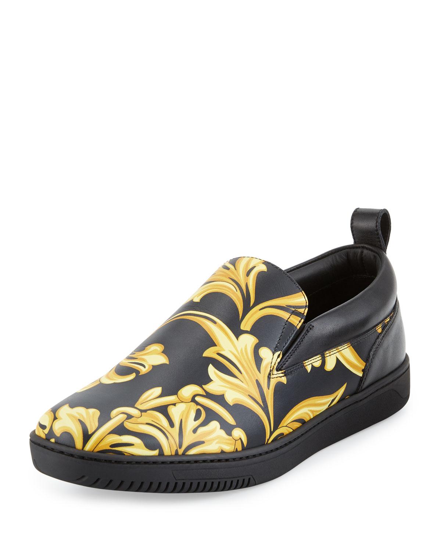 e6dadf3255 Versace Barocco Men s Leather Skate Shoe