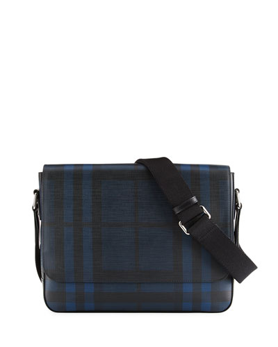 London Check Collection Messenger Bag, Navy/Black