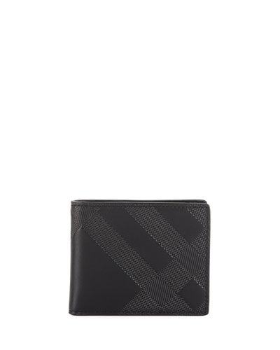 Embossed Check Leather Utility Bi-Fold Wallet, Black
