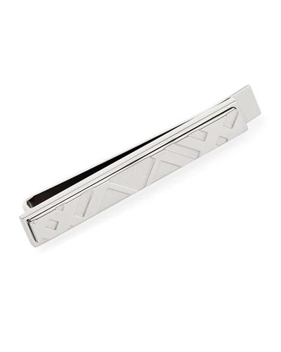 Check Engraved Tie Bar, Silver