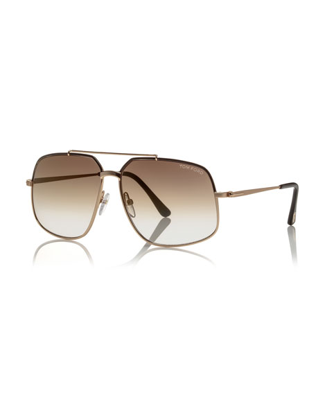 Shiny Metal Aviator Sunglasses, Rose Golden/Havana