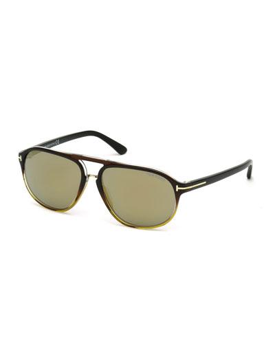 Jacob Gradient Aviator Sunglasses, Black/Smoke