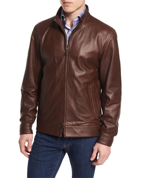 Peter Millar Summertime Napa Leather Bomber Jacket, Truffle