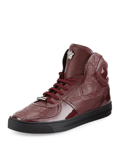 Men's Mixed-Leather High-Top Sneaker w/Medallion, Burgundy