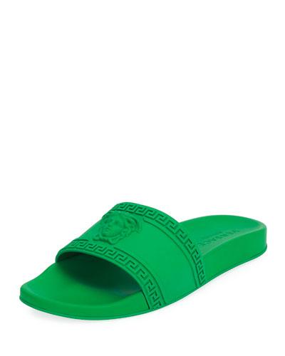 Men's Medusa & Greek Key Shower Slide Sandal, Navy