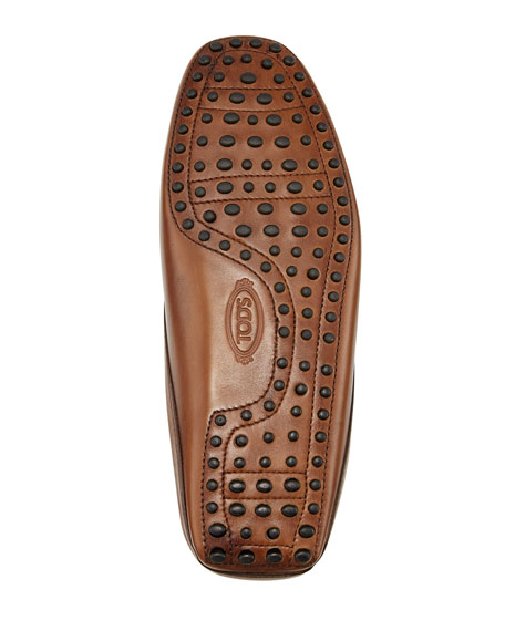 Gommini Benson Burnished-Leather Slipper, Brown