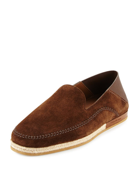 Ermenegildo Zegna Suede Espadrille Slip-On Shoe, Brown