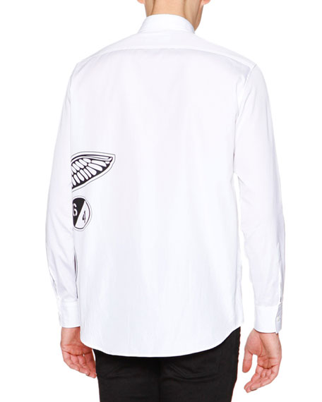 Side Logo-Graphic Long-Sleeve Shirt, White