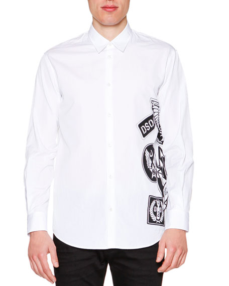 Dsquared2 Side Logo-Graphic Long-Sleeve Shirt, White