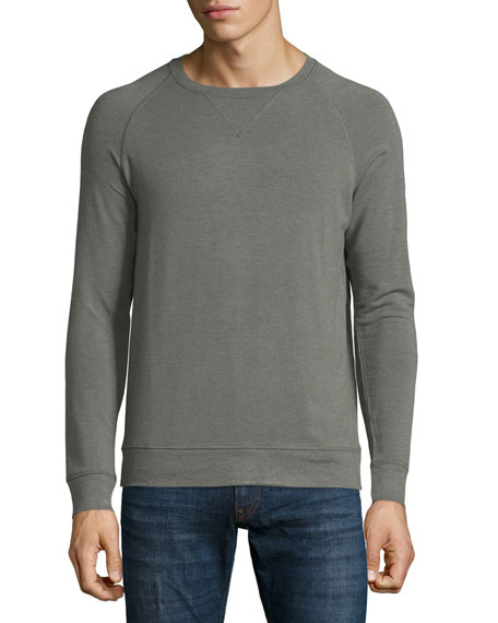 Majestic Long-Sleeve Crewneck Pullover Shirt, Green