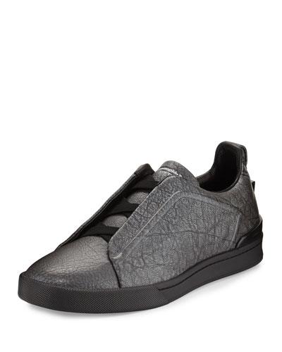 Metallic Leather Slip-On Sneaker, Silver